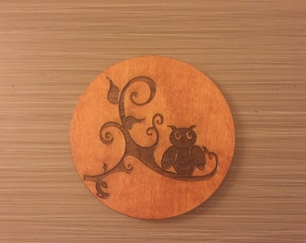 Round Wood Owl Coaster