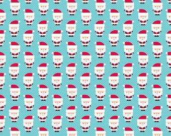 Santa Express Santa Claus Blue - Riley Blake Designs - Christmas Holiday - Quilting Cotton Fabric - by the yard fat quarter half