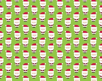 Santa Express Santa Claus Green - Riley Blake Designs - Christmas Holiday - Cotton FLANNEL Fabric - by the yard fat quarter half