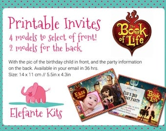 Printable invitations -The Book of Life - - Give your name to your Birthday!