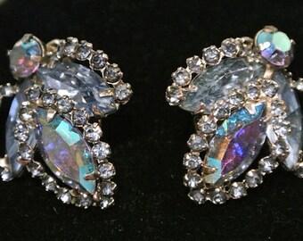 Vintage WEISS Rhinestone Earrings Clip On Earrings Blue Rhinestone 1950s 50s Mid Century Midcentury Hollywood Regency  Designer Name