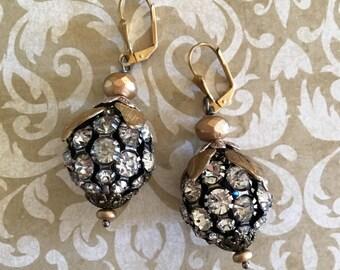 Rhinestone ball of fun: Vintage assemblage earrings, repurposed jewelry, boho bling