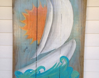 Outdoor painting - porch painting - reclaimed lumber - wall hanging for porch