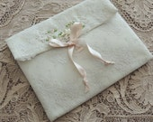 Vintage Lace and Floral Silk Ribbon Lingerie Bag / Hanky Bag / Lace Boudior Bag / Wedding Gift / Bridal Gift / Lace Bag / Lace Pouch