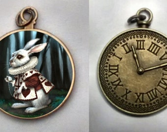 White Rabbit Necklace,  White Rabbit Necklace, White Rabbit Clock Pendant.  FREE SHIPPING