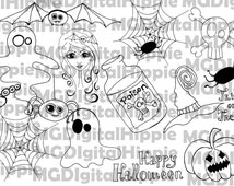Halloween digi stamp set Digital Halloween stamps Scrapbooking stamp package Digital stamps Halloween word art Pumpkin Spider Ghosts stamps