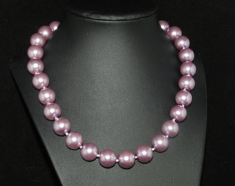 FT672 Chunky Purple Pearl Necklace  18in