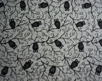 Halloween Fabric - Black Owls Sitting in Trees on Grey Background, Moonlight Manor by Deb Strain for Moda Fabrics, 100% Cotton