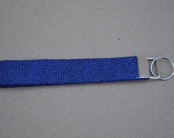 Blue Dot Fabric Keychain