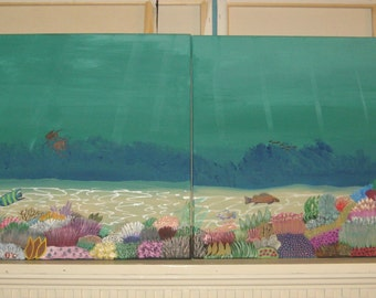 Coral Reef Painting 2 part painting coral reef painting modern art