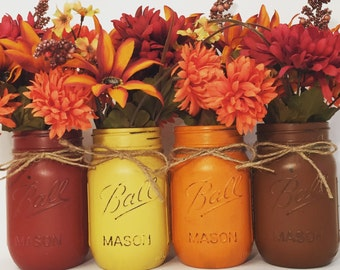 Fall Mason Jars, Fall Decor, Thanksgiving Mason Jars, Thanksgiving Decor, Halloween Decor