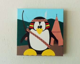"Childrens painting, Penguin art, ""Indian Puggs"" Kids wall art."