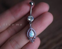 belly ring opal belly button ring belly button jewelry dangle fire opal boho bohemian jewelry
