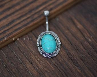 belly ring belly button ring belly button jewelry turquoise boho bohemian jewelry
