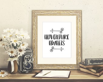 Adventure Awaits Poster // 8x10 Printable With Arrows // Piper and Lily Prints