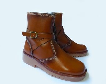 70's Leather Ankle Buckle Junior Boots New old Stock Made in France EU 30