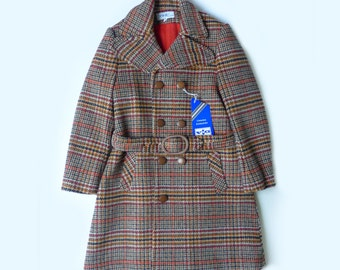 60's Tartan Wool Double Breasted  Coat French Stock 6-8 Years