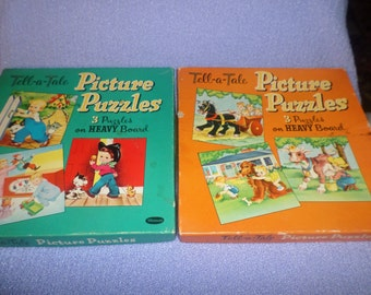 Vintage Whitman Puzzle lot Childrens Heavy board Beautiful pictures Tell a tale 2 boxes