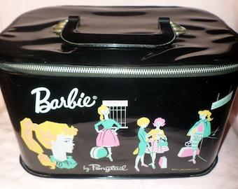 Vintage Barbie Case 1962 Black by Ponytail VGC pink blonde girl doll on front