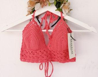 MAHINA CROP TOP / Crochet crop top / bikini top / triangle bikini top