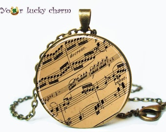 1 Inch Vintage sheet music necklace, sheet music pendant, music notes jewelry, gift for musicians, gift for musician, For Her, For Him