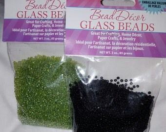 Black and Green Seed Beads