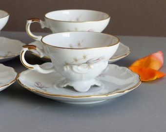 Vintage Bavarian Tea Cups or Coffee Cups and Saucers Set of 6. Children's or Adult usable set.