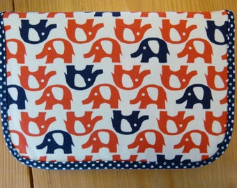 Spring bag / pencil case with elephants