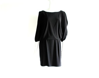 Women's Black Dress with Half Sleeves that are Open on the Sides - Top Part Overlays the Bottom of Dress - Size Medium