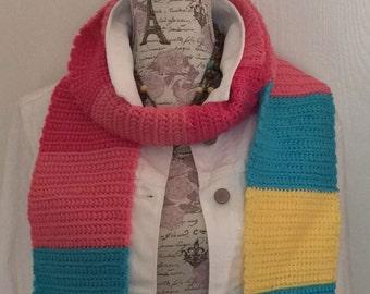 OOAK Hand Crocheted Scarf, MLP Pinkie Pie Inspired