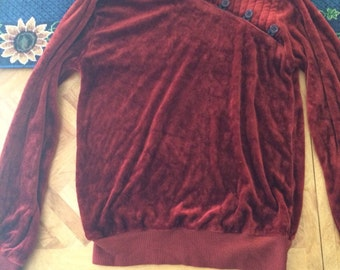 Vintage 1970s red velvet sweater size small