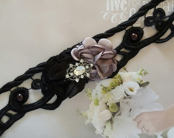 Black And Gray Lace Wedding GarterGray GarterVintage