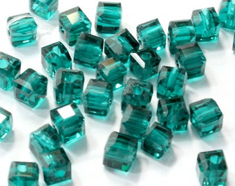 4mm Malachite Green Square Crystal Beads. (20) Green Crystal Beads for Making Jewelry. Small Cube Crystal Beads. Green Crystal Cube Beads.