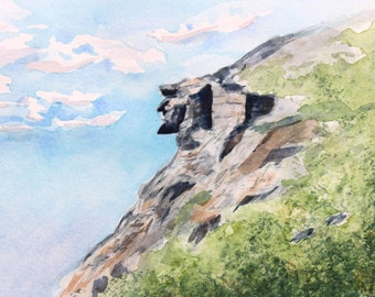 Old Man of the Mountain - New Hampshire - Watercolor Print - Landscape