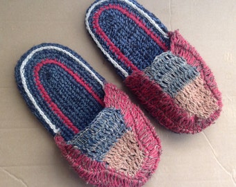 Eco Friendly Bohemain  Hand Knitted THC Free Hemp Slippers