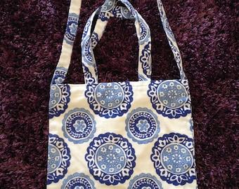 Oriental blue floral print totes/body bag