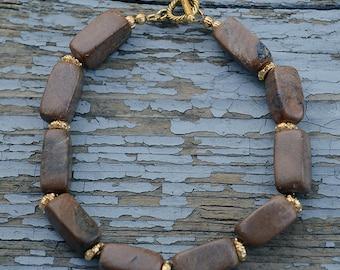 Brown marble bracelet, Brown bracelet, Beaded marble bracelet, Gold plated bracelet, Genuine marble bracelet, Marble jewelry, Marble gift.