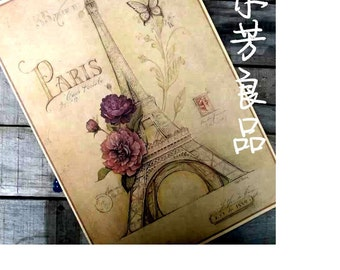 2015 Rushed Wall Decals Butterfly Paris Bloosom Eiffel Tower Paper Poster Home Wall Decor Vintage Painting Decorative Plaques