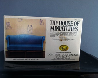 Vintage 1977 X-Acto The House of Minitures: Chippendale sofa/CIRCA 1750-1790