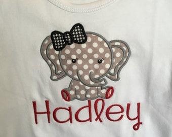 Girls Alabama Elephant Applique Shirt