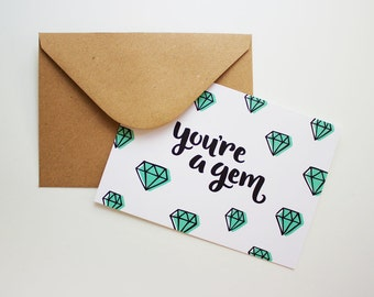 You're A Gem Flat Greeting Card | Thank You, Friendship, Love, Just Because, Birthday
