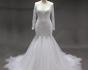 Long Sleeve Modest Beaded Mermaid Wedding Dress with Long Train and Sheer Back with Lace