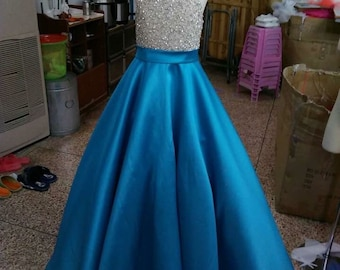 Halter crystal top pageant girls dress