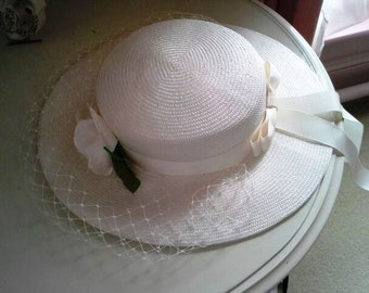 Elegant white vintage hat with net, rose and ribbon- Romantic hat