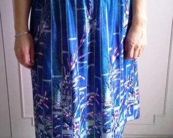 Vintage blue skirt with flowers- summer skirt-romantic skirt