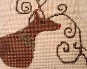 Bejeweled Reindeer Handpainted Needlepoint Mini-stocking Ornament