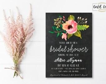 Bridal Shower Invite // Chalkboard Floral