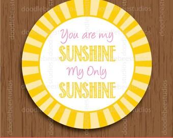 You are my Sunshine Tags, Printable Sunshine Tags, Sunshine Favor Tags, Sunshine Labels, Sunshine Printables