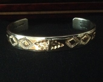 NAVAJO Marc Anita Sterling Silver and Gold-Filled Cuff Bracelet