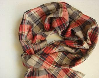 Summer Linen scarf Plaid Man linen scarf modern linen scarf by Luxoteks